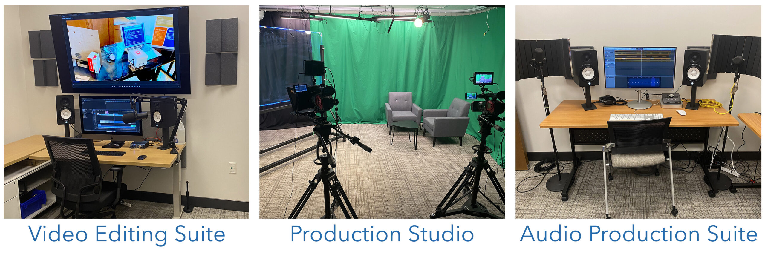 Photo of the video editing suite, production studio an audio station