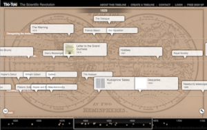 Screenshot of timeline created for Molvig's Scientific Revolution course